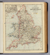 Railway & statistical map of England & Wales. Letts's popular atlas. (with) Enlarged map of the district of Liverpool & Manchester. Letts, Son & Co. Limited, London. (1883)