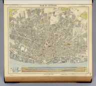 Plan of Liverpool. (with) Plan, section of tunnel under River Mersey, now constructing. Letts's popular atlas. Letts, Son & Co. Limited, London. (1883)