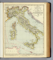 Statistical map of Italy, including Sicily, Malta, Sardinia & Corsica. Letts's popular atlas. Letts, Son & Co. Limited, London. (1883)