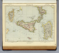 Italy. No. 3. (with Corsica). (with Sardinia). Letts's popular atlas. Letts, Son & Co. Limited, London. (1883)