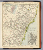 New South Wales, eastern portion. (with) Sydney. Letts's popular atlas. Letts, Son & Co. Limited, London. (1883)