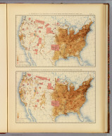 18. Distribution of the population of the United States, excluding Indians not taxed: 1870. 19. Distribution of the population of the United States, excluding Indians not taxed: 1880. Julius Bien & Co. Lith., N.Y. (1898)