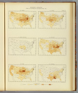 Interstate migration, density of the natives of the several states: 1890. 80. Indiana. 81. Indian Territory. 82. Iowa. 83. Kansas. 84. Kentucky. 85. Louisiana. Julius Bien & Co. Lith., N.Y. (1898)