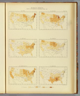 Interstate migration, density of the natives of the several states: 1890. 86. Maine. 87. Maryland. 88. Massachusetts. 89. Michigan. 90. Minnesota. 91. Mississippi. Julius Bien & Co. Lith., N.Y. (1898)