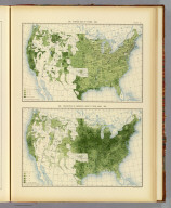 285. Average size of farms: 1890. 286. Proportion of improved land to total area: 1890. Julius Bien & Co. Lith., N.Y. (1898)