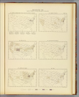 Manufactures: 1890. Value of product in dollars per head of population. 337. Center of manufactures for the 7th, 8th, 9th, 10th, and 11th censuses. 338. Brick and tile. 339. Carriages and wagons. 340. Chemicals production. 341. Clay and pottery products. 342. Coke. Julius Bien & Co. Lith., N.Y. (1898)