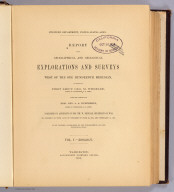 Title Page: Report U.S. Geog. Surveys West of the 100th Meridian v. 5.