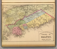 County of Halifax, Nova Scotia. (Drawn on the Rectangular polyconic projection. Drawn and published by Roe Brothers, (A.D. & W.B. Roe). Eng. by Worley & Bracher, Philada. Printed by F. Bourquin, Philada. 1878)