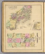 Casco Bay from Broad Sound to Cape Elizabeth Light. Drawn from U.S. Coast Survey Chart. Colby's maps of the timber lands of Maine. No. 1. (with Peaks Island or Jones Landing. 1885)