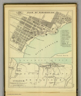 Plan of Paramaribo. (with) Surinam. (Moravia Church establishments). Lithe. by A. Peterson, 9, Charing Cross. (1853)