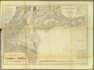 Map of New-York Bay and Harbor and the environs. From a trigonometrical survey under the direction of F.R. Hassler, Superintendent of the Survey of the Coast of the United States. Triangulation by James Ferguson and Edmund Blunt, assistants. The hydrography under the direction of Thomas R. Gedney, Lieutenant, U.S. Navy. The topography by C. Renard, T.A. Jenkins & B.F. Sands, assists. Published in 1845. A.D. Bache, Superintendent. Topography engraved by S. Siebert & A. Rolle, views engraved by O.A. Lawson. Engraving supervised & views of the coast drawn by J. Farley. Hydrography engraved by F. Dankworth, lettering by F. Dankworth & J. Knight. Electrotype copy no. 5 by G. Mathiot, U.S.C.S. (with logo) U.S. Coast Survey Depot.