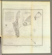 San Diego Entrance and approaches, California. From a trigonometrical survey under the direction of A.D. Bache, Superintendent of the Survey of the Coast of the United States. R.D. Cutts & Geo. Davidson, assistants and A.M. Harrison, sub assistant. Published in 1853. (with) General sketch of San Diego Bay and Los Coronados. Redd. drng. by F. Herbst. Engg. by S. Siebert, G. McCoy & E. Yeager. Electrotype copy no. 1 by G. Mathiot, U.S.C.S. No. 45. (with logo) U.S. Coast Survey Office.