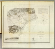 Preliminary sketch of Santa Barbara, California. U.S. Coast Survey. A.D. Bache, Superintendent. Topography by A.M. Harrison sub-assistant. Hydrography by the party under the command of Lieut. James Alden, U.S.N., assistant. 1853. (with) View of the town and mission of Santa Barbara. Reduction for engraving by J. Lambert, draughtsman. Topography engraved by M.F.O. Strobel, view of J. Jung, lettering by W. Smith. Electrotype copy no. 1 by G. Mathiot, U.S.C.S. (with logo) U.S. Coast Survey Office. No. 45.
