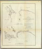 Reconnaissance of the harbors of Santa Cruz, San Simeon, Coxo and San Luis Obispo, California. U.S. Coast Survey. A.D. Bache, Superintendent. By the hydrographic party under the command of Lieut. James Alden, U.S. Navy, assistant. 1852. Reduction for engraving by Frs. Herbst and E. Hergesheimer. Outlines and topography engraved by H.C. Evens and Max. F.O. Strobel, lettering by H.M. Knight. (with logo) U.S. Coast Survey Depot.