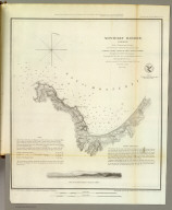 Monterey Harbor, California. From a trigonometrical survey under the direction of A.D. Bache, Superintendent of the Survey of the Coast of the United States. Triangulation by R.D. Cutts, assistant. Topography by R.D. Cutts, asst. and A.M. Harrison, sub-asst. Hydrography by the party under the command of Lieut. James Alden, N.S.N (sic), asst. Published in 1852. (with) View of Pt. Pinos N. 3/4 (by compass) 5 miles. View of W.B. McMurtrie, reduction of topography for engraving by J. Lambert. Topography engraved by S. Siebert, view by S.V. Hunt, lettering by E.F. Woodward. Electrotype copy no. 2 by G. Mathiot, U.S.C.S. (with logo) U.S. Coast Survey Office.