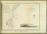 Reconnaissance of San Pedro Harbor, California. U.S. Coast Survey. A.D. Bache, Superintendent. By the hydrographic party under the command of Lieut. Comdg. James Alden, U.S.N., assistant. 1852. (with) View of San Pedro, Pt. Fermin bearing W.N.W. (compass) 4 miles. Reduction for engraving by Frs. Herbst. Outlines & topography engraved by H.C. Evens, view by S.V. Hunt, lettering by S.E. Stull. Electrotype copy no. 1 by G. Mathiot, U.S.C.S. (with logo) U.S. Coast Survey Office.