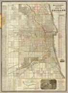 Blanchard's guide map of Chicago. Published by Rufus Blanchard, 52 La Salle Street, 1862.