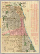 Blanchard's guide map of Chicago. And suburbs south to Seventy First Street. National School Furnishing Co. 141-143 Wabash Ave. Chicago. 1886.
