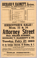 Richard V. Harnett, auctioneer, office, 111 Broadway, N.Y. Executor's sale! Nos. 32 & 34 Attorney Street near Grand Street ... Martin B. Brown, book, job and diagram printer, 49 and 51 Park Place, N.Y.