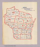 (Index to) Bicycle Road Maps In Sections of the State of Wisconsin. Copyrighted and Published by the Wisconsin Division, League of American Wheelmen ... C.B. Case, L.A.W. Map Department. 411 Milwaukee St., Milwaukee, Wis. 1897.