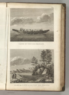 (Two views). Canoe of Port des Francais. Frame of a Canoe Found at Port des Francais, by the Side is the Covering of Seal Skins which Served Instead of Planks. Published as the Act directs Novr. 1st 1798, by G.G. & J. Robinson, Pater Noster Row, London. Blondela del. Heath sculpt. No. 57.