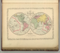 A New Map of the World on the Globular Projection. Philadelphia, Published By Charles Desilver, No. 714 Chestnut Street. Western Hemisphere. Eastern Hemisphere. 1. Entered according to Act of Congress in the year 1856 by Charles Desilver in the Clerk's office if the District Court of the Eastern District of Pennsylvania.