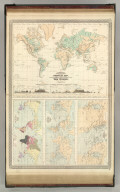 Johnson's Physical Map Showing the Principal Mountains, Plateaus, & Plains of The World by Prof. A. Guyot. Published by A. J. Johnson, New York. 7. 8. (Following maps at scale 1: 85,000,000): Johnson's World Showing the Lines of Equal Magnetic Declination, Epoch 1856, By Prof. A. Guyot. Johnson's World Showing the Course of the Tidal Wave in the Three Great Oceans, and the Distribution of Volcanoes. By Prof. A. Guyot. Johnson's World, Showing the Distribution of the Principal Races of Man. By Prof. A. Guyot. Entered according to the Act of Congress, in the year 1870, by A.J. Johnson in the Clerk's Office of the District Court of the United States for the Southern District of New York.