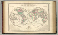 Johnson's Globular World, Published by A. J. Johnson, New York. 16. 17. Western Hemisphere. Eastern Hemisphere. Entered according to the Act of Congress, in the year 1867, by A.J. Johnson in the Clerk's Office of the District Court of the United States for the Southern District of New York.