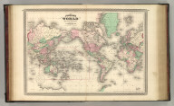 Johnson's World on Mercator's Projection, Published by A. J. Johnson, New York. 18. 19. Entered according to the Act of Congress, in the year 1865, by A.J. Johnson in the Clerk's Office of the District Court of the United States for the Southern District of New York.