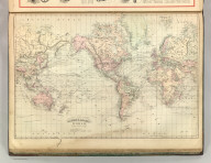 Asher & Adams' World on Mercator's Projection. Entered according to Act of Congress 1874 by Asher & Adams in the Office of the Librarian of Congress at Washington.