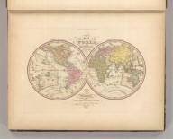 A New Map Of The World on the Globular Projection By H.S. Tanner. Philadelphia. Published by Carey & Hart 1843. Engd. by E.B. Dawson. Tanner's Universal Atlas.