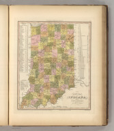 A New Map Of Indiana with its Roads & Distances. by H.S. Tanner. Engrav'd by J. Knight. Entered ... 1841 by H.S. Tanner ... Pennsylvania. Philadelphia, Published by Carey & Hart. (above neat line) Tanner's Universal Atlas.