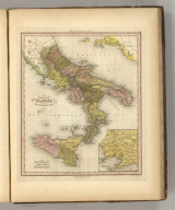 Kingdom of Naples or The Two Sicilies. (with) Environs of Naples. Engraved by E.B. Dawson. Philadelphia, Published by Carey & Hart (above neat line) Tanner's Universal Atlas.