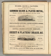 Holmes, Booth & Haydens, New York (silverplate and plated metals), Scovill Manufacturing Company, New York (metal products and plateware). Printed by Henry B. Ashmead, George Street above Eleventh, Philadelphia.
