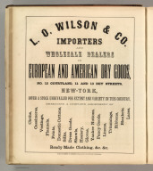 L.O. Wilson & Co., New York (dry goods). Printed by Henry B. Ashmead, George Street above Eleventh, Philadelphia.