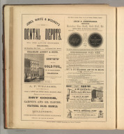 Jones, White & McCurdy's Dental Depots, Philadelphia, Charles Abbey & Sons, Philadelphia (dentists' goild foil), A.F. Williams, Springfield (dry goods, carpets, oil coths, feathers, silks, and millinery), Orum & Armstrong (gold foil), Breckenridge Coal Oils, New York (oil lamps, lamp oils, machinery oils), A.W. Gay & Co., New York (pumps, fire engines, windmills). Printed by Henry B. Ashmead, George Street above Eleventh, Philadelphia.