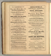 B.A. Fahnestock & Co., New York (medicines, chemicals, glassware), A.B. & D. Sands, New York (drugs, chemicals, leeches, apothocaries' wares, elixir of opium, sarsaparilla, oil of cloves), Schieffelin Brothers & Co., New York (drugs, medicines, fancy goods, chemicals, corks), Israel Minor & Co., New York (drugs, medicines, oils, perfumes). Printed by Henry B. Ashmead, George Street above Eleventh, Philadelphia.