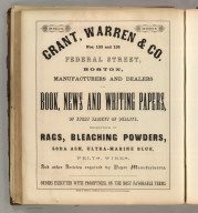 Grant, Warren & Co. Boston (paper, rags, bleaching powders, paper manufacturing supplies). Printed by Henry B. Ashmead, George Street above Eleventh, Philadelphia.