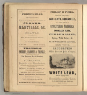 Willouchby H. Reed & Co., New York (cloaks, mantillas, shawls), Phillip H. Tuska, New York (cloth, hair, upholsterer's materials, springs), Trainor's Saddles, Harnesses & Trunks, New York (whips, horse blankets), Saugertites White Lead and Paint Company, New York. Printed by Henry B. Ashmead, George Street above Eleventh, Philadelphia.