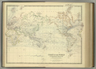 Chart of the World on Mercators Projection. Showing the direction of the ocean currents, with the routes and distances between principal ports. By Keith Johnston, F.R.S.E. Keith Johnston's General Atlas. Engraved, Printed, and Published by W. & A.K. Johnston, Edinburgh & London.