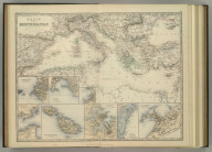 Basin of the Mediterranean. (with) Marseille. (with) Genoa. (with) Gibralter. (with) Maltese Islands. (with) Trieste. (with) Valetta. (with) Venice. (with) Alexandria. Keith Johnston's General Atlas. By Keith Johnston, F.R.S.E. Engraved, Printed, and Published by W. & A.K. Johnston, Edinburgh & London.