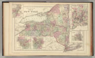 County map of the state of New York. (with) Map of New York City and vicinity. (with) Albany. (with) Rochester. (with) Buffalo. (with) Troy, West Troy. Drawn and engraved by W.H. Gamble, Philadelphia. Copyright by S. Augustus Mitchell 1884.