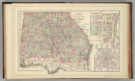 County map of the states of Georgia and Alabama. (with) Savannah, Georgia. (with) City of Atlanta, the capitol of Georgia. Copyright by S. Augustus Mitchell 1884.