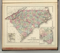 North and South Carolina. (with) Plan of Charleston. (with) Map of Charleston Harbor. Copyright by S. Augustus Mitchell 1884.
