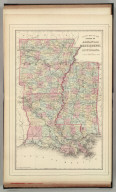 County map of the states of Arkansas, Mississippi and Louisiana. Drawn and engraved by W.H. Gamble, Sc. Philadelphia. Copyright by S. Augustus Mitchell 1884.