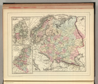 Russia in Europe, Sweden, and Norway. (with) Map of Denmark. (with) Map of Holland and Belgium. Copyright by S. Augustus Mitchell 1884.