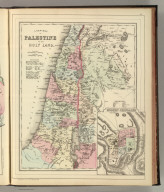 A new map of Palestine or the Holy Land. (with) Modern Jerusalem. Drawn and engraved by W.H. Gamble, Philada. Copyright by S. Augustus Mitchell 1884.