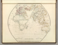 Eastern Hemisphere. The World in Equal Quarters - Sharpe's Projection. Engraved by J. Wilson Lowry. Pub. by Chapman and Hall, 1847.
