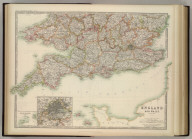 England and Wales (southern sheet). (with) Scilly Islands and Lands End. (with) Environs of London. Keith Johnston's General Atlas. Aug. 1910. Engraved, Printed, and Published by W. & A.K. Johnston, Limited, Edinburgh & London.