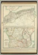 N.W. Africa, Comprising Marocco, Algeria & Tunis. Central Africa at scale 1:10,300,000. Keith Johnston's General Atlas. Sept. 1911. Engraved, Printed, and Published by W. & A.K. Johnston, Limited, Edinburgh & London.